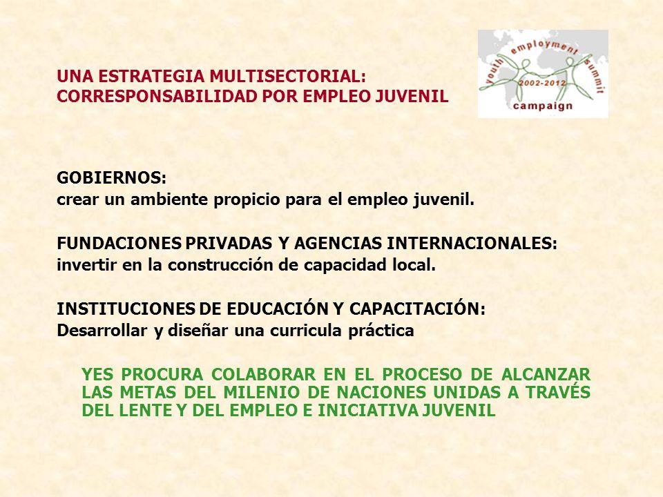 UNA ESTRATEGIA MULTISECTORIAL: CORRESPONSABILIDAD POR EMPLEO JUVENIL GOBIERNOS: crear un ambiente propicio para el empleo juvenil.