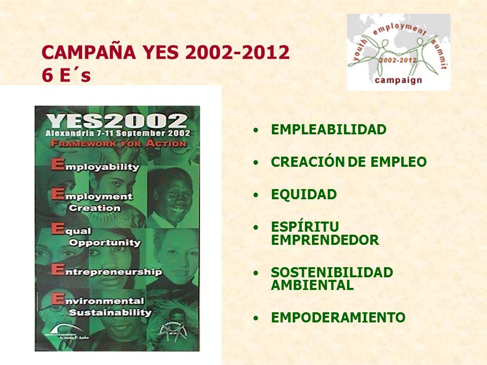 CAMPAÑA YES 2002-2012 6 E´s E MPLEABILIDAD TEMAS Educación para el Trabajo Transición al Trabajo VISIÓN Los jóvenes tienen acceso a educación y capacitación que les provee las habilidades necesarias para encontrar empleo productivo o trabajo mediante el auto-empleo