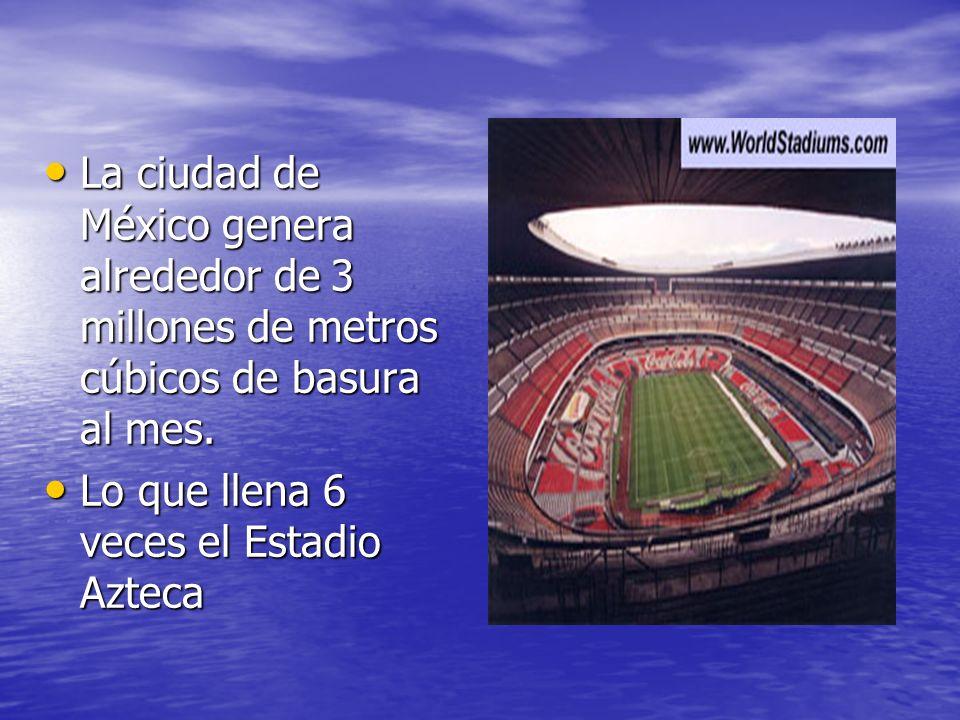 La ciudad de México genera alrededor de 3 millones de metros cúbicos de basura al mes. La ciudad de México genera alrededor de 3 millones de metros cú