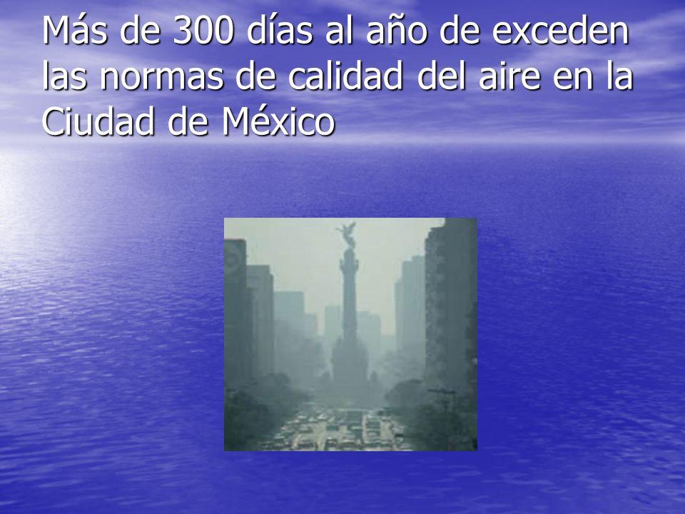 Más de 300 días al año de exceden las normas de calidad del aire en la Ciudad de México