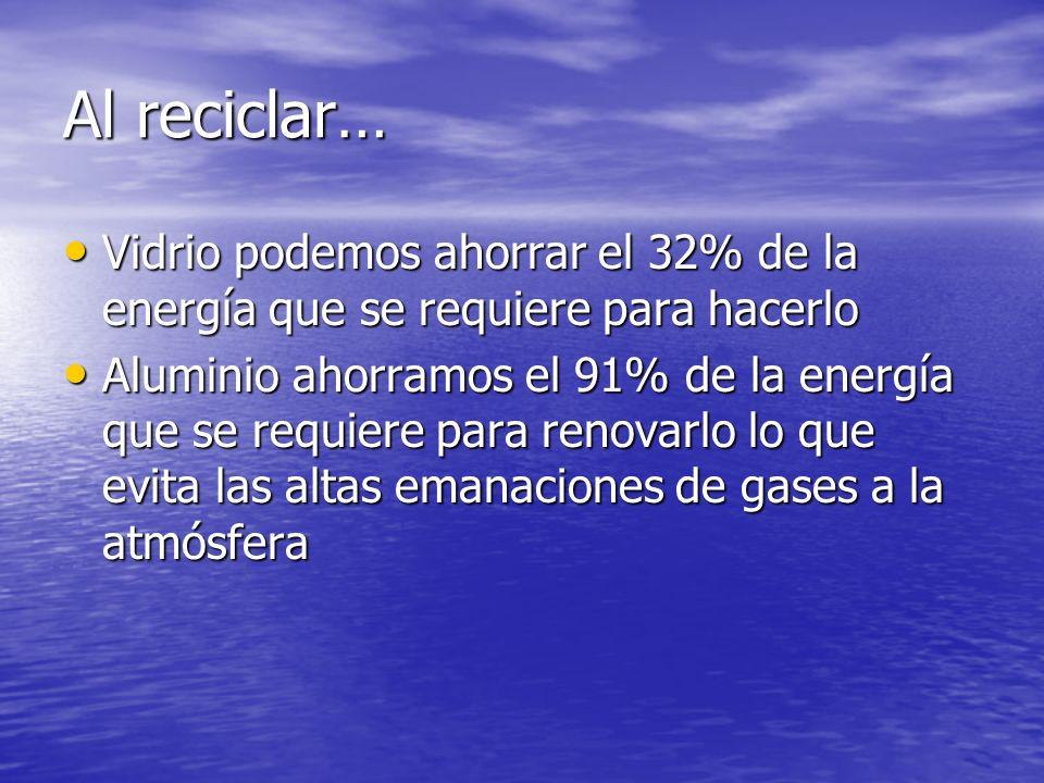 Al reciclar… Vidrio podemos ahorrar el 32% de la energía que se requiere para hacerlo Vidrio podemos ahorrar el 32% de la energía que se requiere para