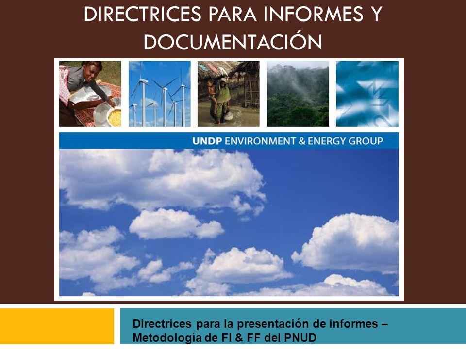 DIRECTRICES PARA INFORMES Y DOCUMENTACIÓN Directrices para la presentación de informes – Metodología de FI & FF del PNUD