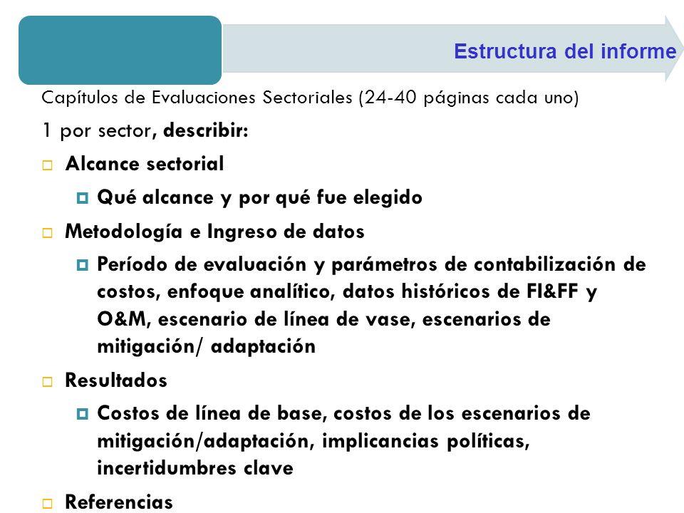 Capítulos de Evaluaciones Sectoriales (24-40 páginas cada uno) 1 por sector, describir: Alcance sectorial Qué alcance y por qué fue elegido Metodologí
