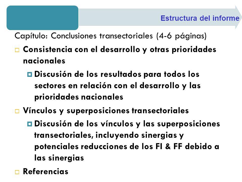 Capítulo: Conclusiones transectoriales (4-6 páginas) Consistencia con el desarrollo y otras prioridades nacionales Discusión de los resultados para to