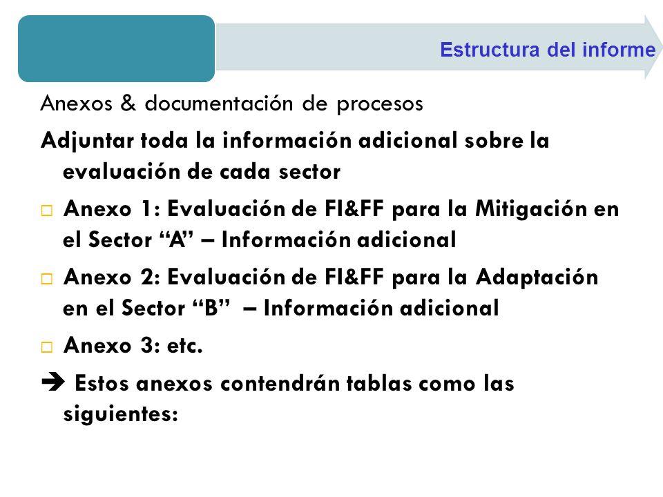 Anexos & documentación de procesos Adjuntar toda la información adicional sobre la evaluación de cada sector Anexo 1: Evaluación de FI&FF para la Miti