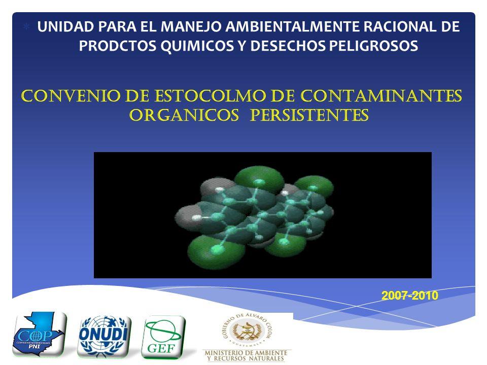 UNIDAD PARA EL MANEJO AMBIENTALMENTE RACIONAL DE PRODCTOS QUIMICOS Y DESECHOS PELIGROSOS CONVENIO DE ESTOCOLMO DE CONTAMINANTES ORGANICOS PERSISTENTES