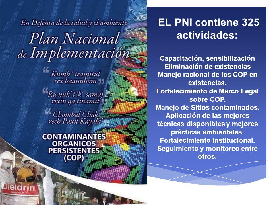 EL PNI contiene 325 actividades: Capacitación, sensibilización Eliminación de existencias Manejo racional de los COP en existencias. Fortalecimiento d
