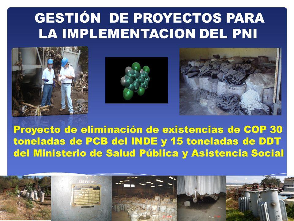 GESTIÓN DE PROYECTOS PARA LA IMPLEMENTACION DEL PNI Proyecto de eliminación de existencias de COP 30 toneladas de PCB del INDE y 15 toneladas de DDT d