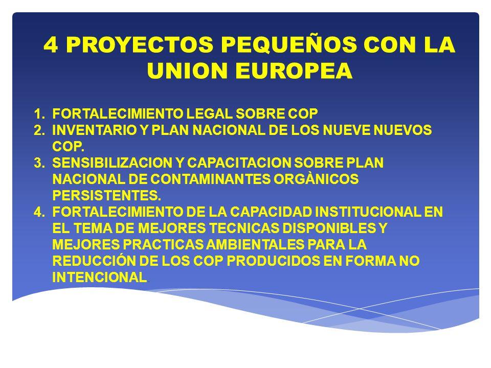 4 PROYECTOS PEQUEÑOS CON LA UNION EUROPEA 1.FORTALECIMIENTO LEGAL SOBRE COP 2.INVENTARIO Y PLAN NACIONAL DE LOS NUEVE NUEVOS COP. 3.SENSIBILIZACION Y