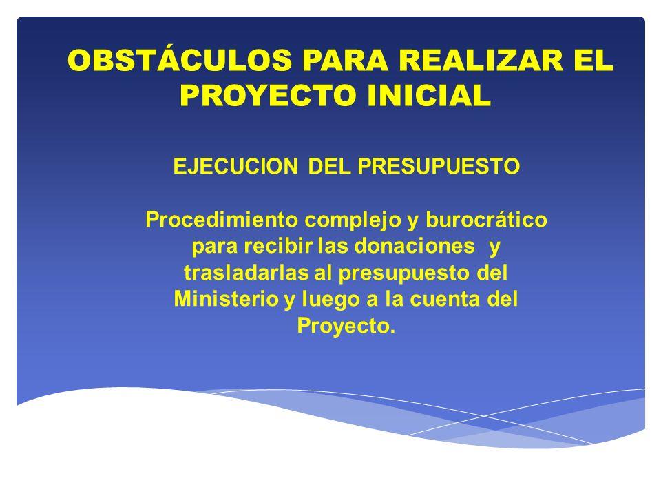 OBSTÁCULOS PARA REALIZAR EL PROYECTO INICIAL EJECUCION DEL PRESUPUESTO Procedimiento complejo y burocrático para recibir las donaciones y trasladarlas