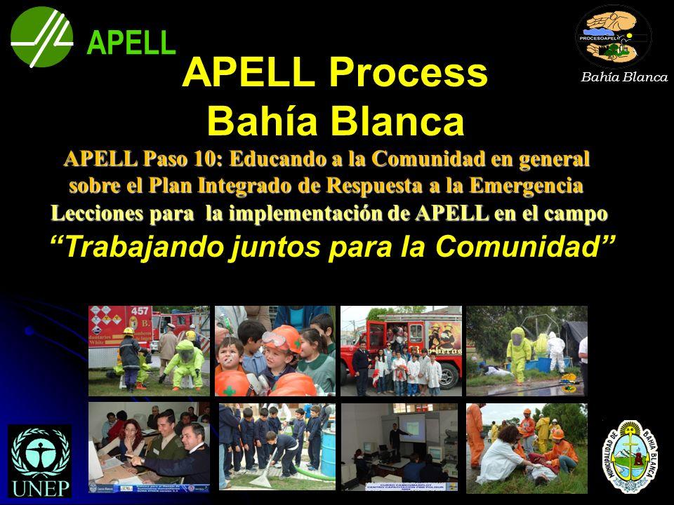 APELL APELL Process Bahía Blanca Trabajando juntos para la Comunidad Lecciones para la implementación de APELL en el campo APELL Paso 10: Educando a l