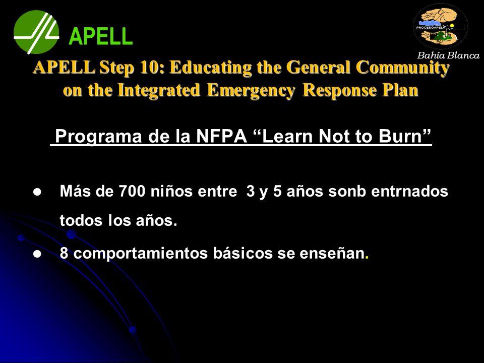 Programa de la NFPA Learn Not to Burn Más de 700 niños entre 3 y 5 años sonb entrnados todos los años. 8 comportamientos básicos se enseñan. Bahía Bla