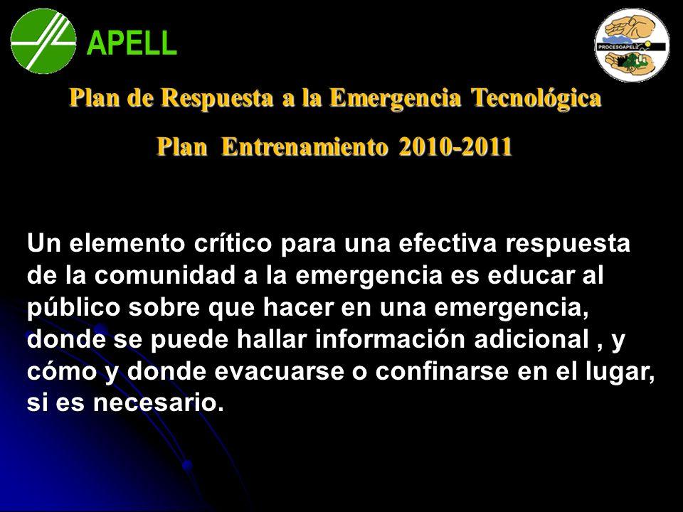 APELL Bahía Blanca Plan de Respuesta a la Emergencia Tecnológica Plan Entrenamiento 2010-2011 Un elemento crítico para una efectiva respuesta de la co