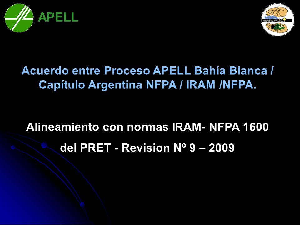 Acuerdo entre Proceso APELL Bahía Blanca / Capítulo Argentina NFPA / IRAM /NFPA. Alineamiento con normas IRAM- NFPA 1600 del PRET - Revision Nº 9 – 20