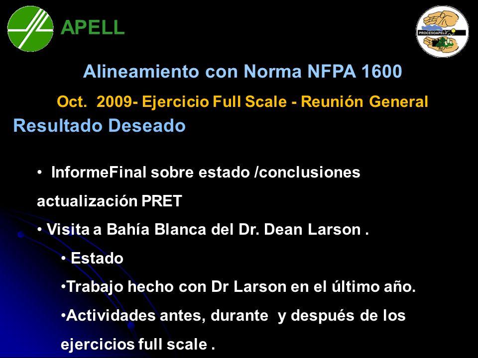 APELL Bahía Blanca Alineamiento con Norma NFPA 1600 Oct. 2009- Ejercicio Full Scale - Reunión General Resultado Deseado InformeFinal sobre estado /con