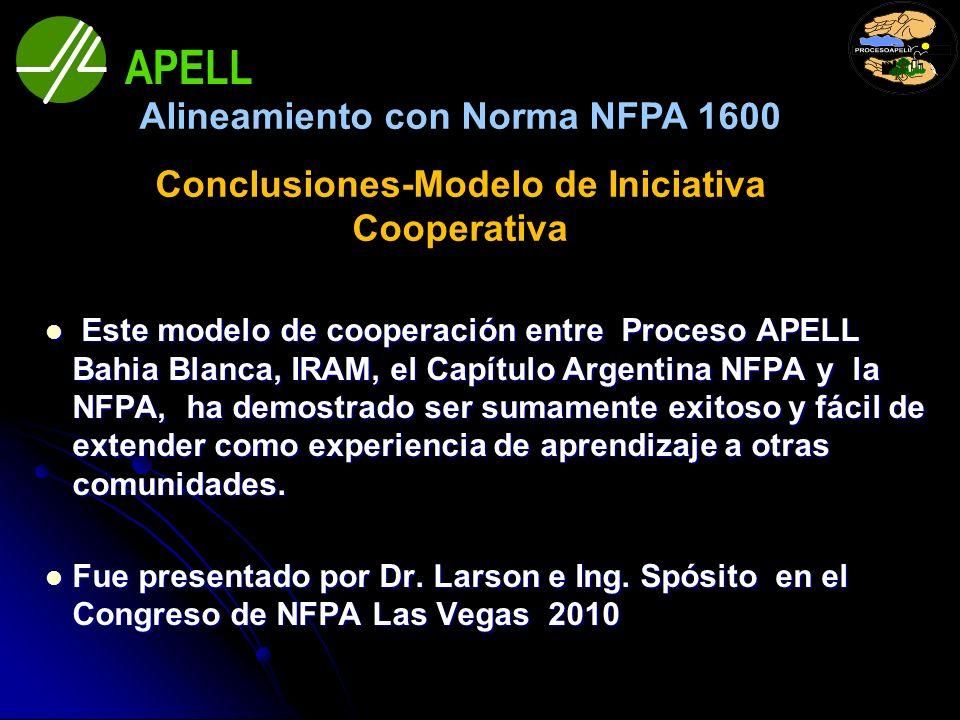 Este modelo de cooperación entre Proceso APELL Bahia Blanca, IRAM, el Capítulo Argentina NFPA y la NFPA, ha demostrado ser sumamente exitoso y fácil d