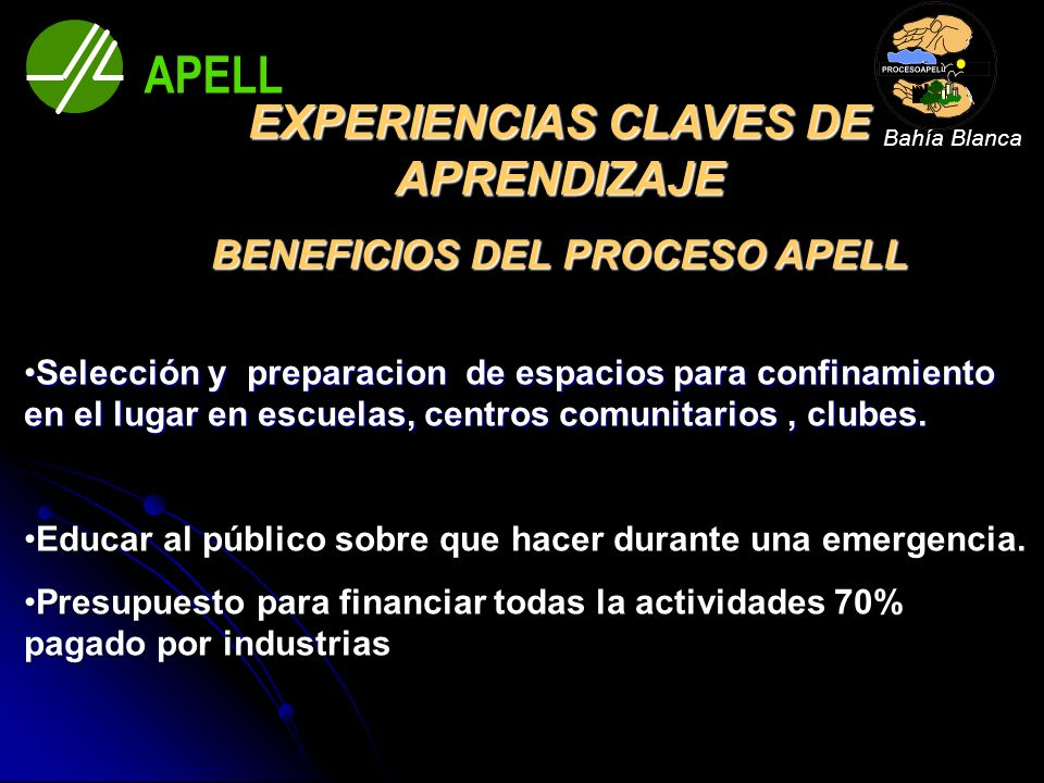 EXPERIENCIAS CLAVES DE APRENDIZAJE BENEFICIOS DEL PROCESO APELL Selección y preparacion de espacios para confinamiento en el lugar en escuelas, centro