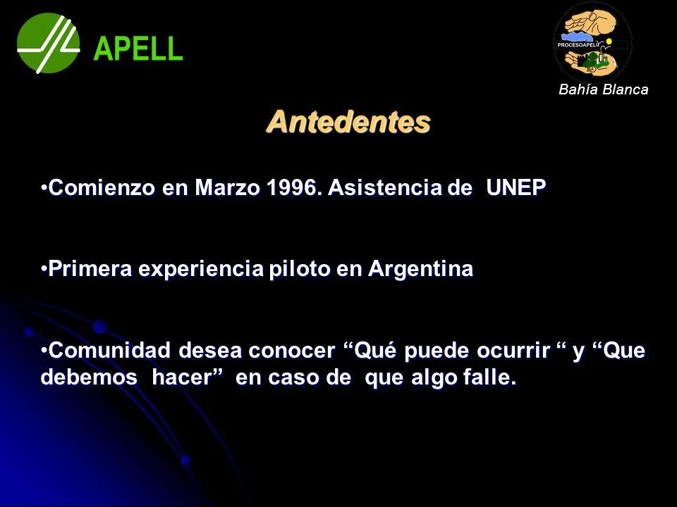Antedentes Comienzo en Marzo 1996. Asistencia de UNEPComienzo en Marzo 1996. Asistencia de UNEP Primera experiencia piloto en ArgentinaPrimera experie