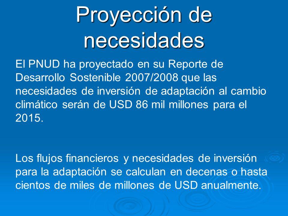 El PNUD ha proyectado en su Reporte de Desarrollo Sostenible 2007/2008 que las necesidades de inversión de adaptación al cambio climático serán de USD 86 mil millones para el 2015.