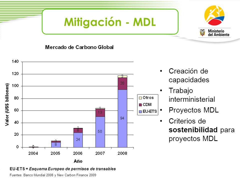 Mitigación - MDL Creación de capacidades Trabajo interministerial Proyectos MDL Criterios de sostenibilidad para proyectos MDL EU-ETS = Esquema Europe