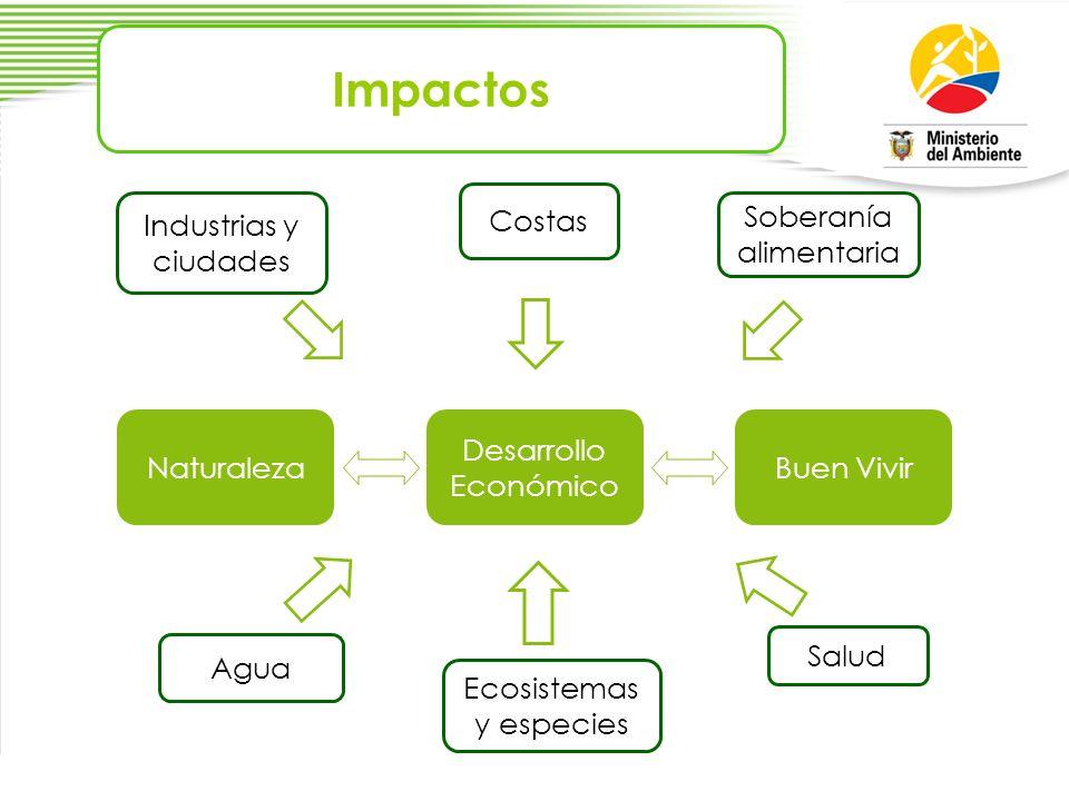 Impactos Naturaleza Desarrollo Económico Buen Vivir Costas Agua Industrias y ciudades Ecosistemas y especies Soberanía alimentaria Salud