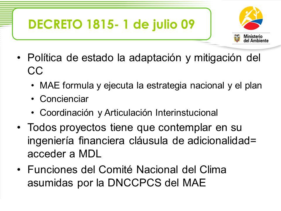 Política de estado la adaptación y mitigación del CC MAE formula y ejecuta la estrategia nacional y el plan Concienciar Coordinación y Articulación In
