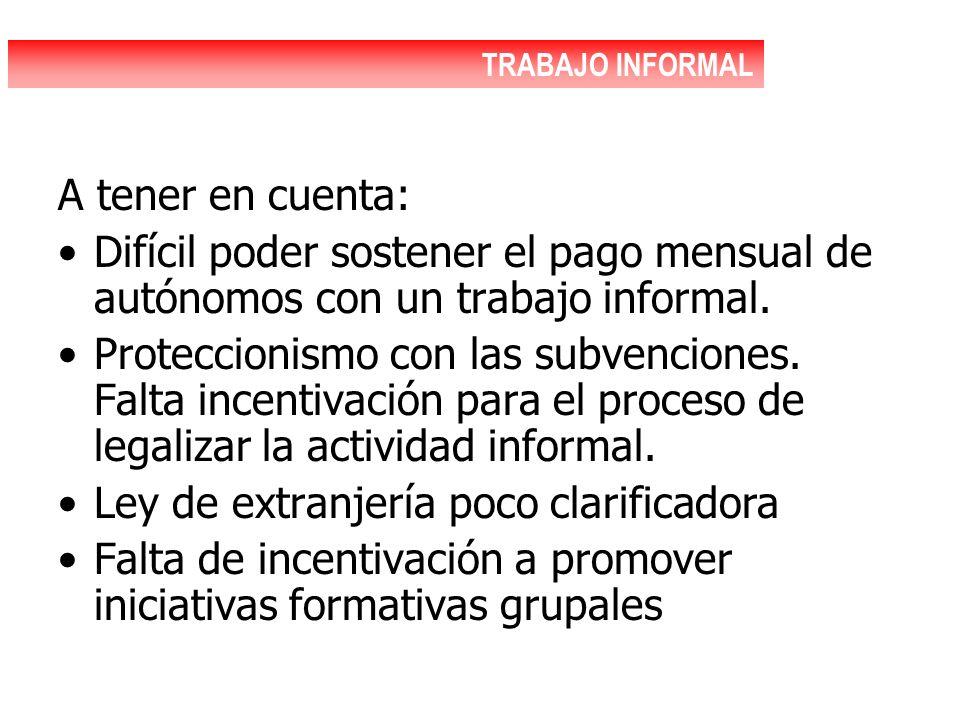 A tener en cuenta: Difícil poder sostener el pago mensual de autónomos con un trabajo informal. Proteccionismo con las subvenciones. Falta incentivaci