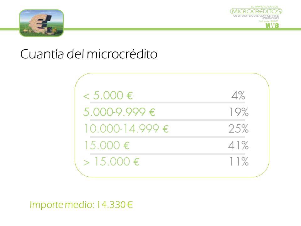 Cuantía del microcrédito Importe medio: 14.330