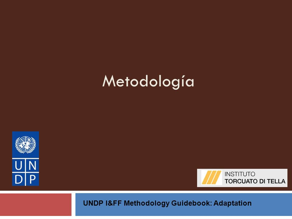 Metodología UNDP I&FF Methodology Guidebook: Adaptation