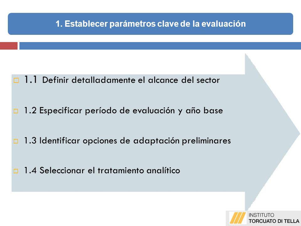 1.1 Definir detalladamente el alcance del sector 1.2 Especificar período de evaluación y año base 1.3 Identificar opciones de adaptación preliminares 1.4 Seleccionar el tratamiento analítico 1.