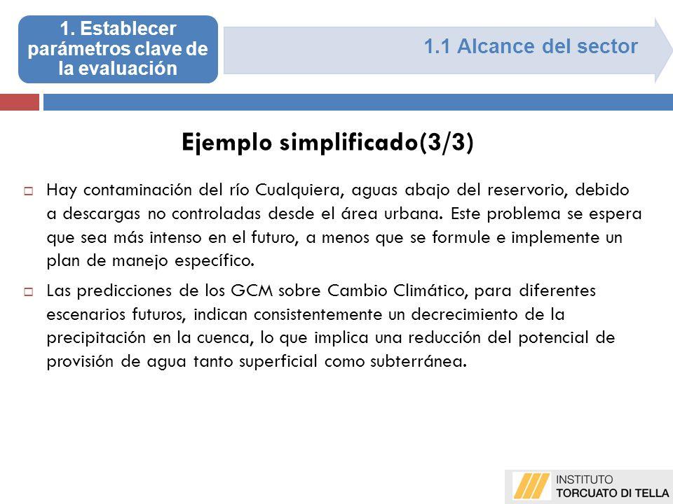 1.1 Alcance del sector Hay contaminación del río Cualquiera, aguas abajo del reservorio, debido a descargas no controladas desde el área urbana.