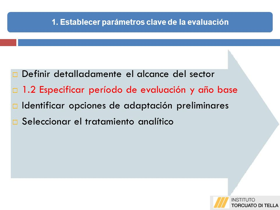 Definir detalladamente el alcance del sector 1.2 Especificar período de evaluación y año base Identificar opciones de adaptación preliminares Seleccionar el tratamiento analítico 1.
