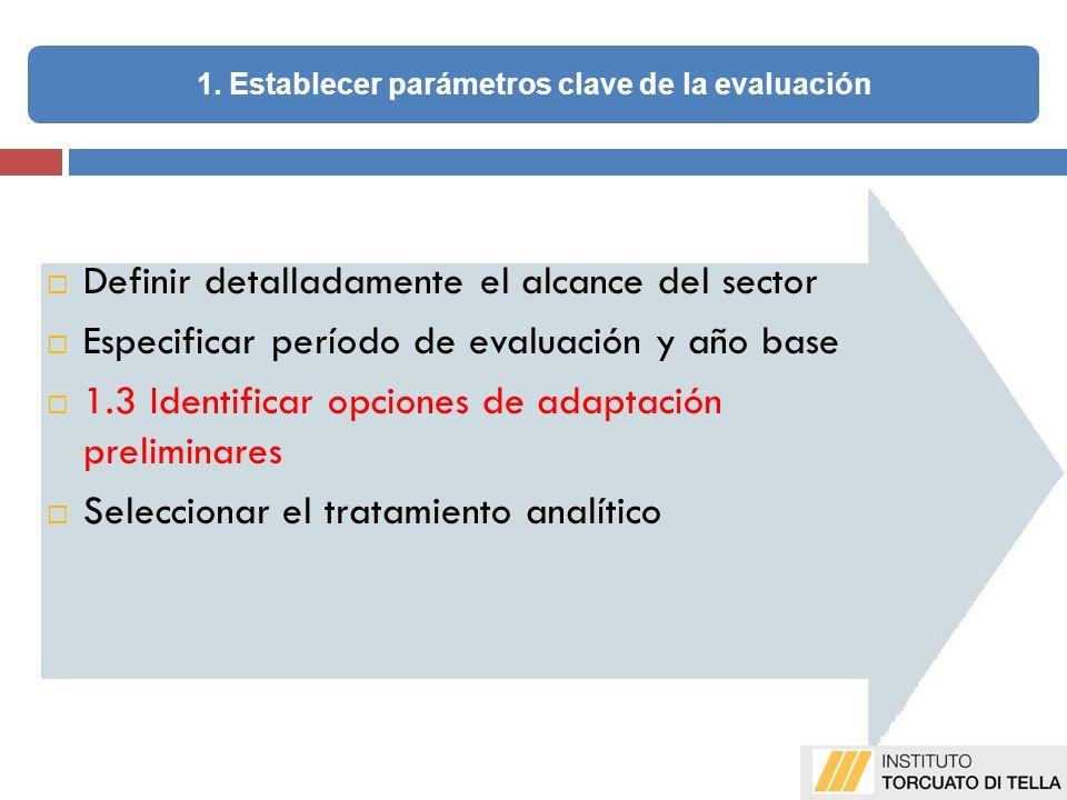 Definir detalladamente el alcance del sector Especificar período de evaluación y año base 1.3 Identificar opciones de adaptación preliminares Seleccionar el tratamiento analítico 1.