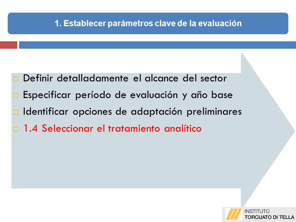 Definir detalladamente el alcance del sector Especificar período de evaluación y año base Identificar opciones de adaptación preliminares 1.4 Seleccionar el tratamiento analítico 1.