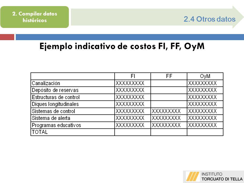 2.4 Otros datos Ejemplo indicativo de costos FI, FF, OyM 2. Compilar datos históricos