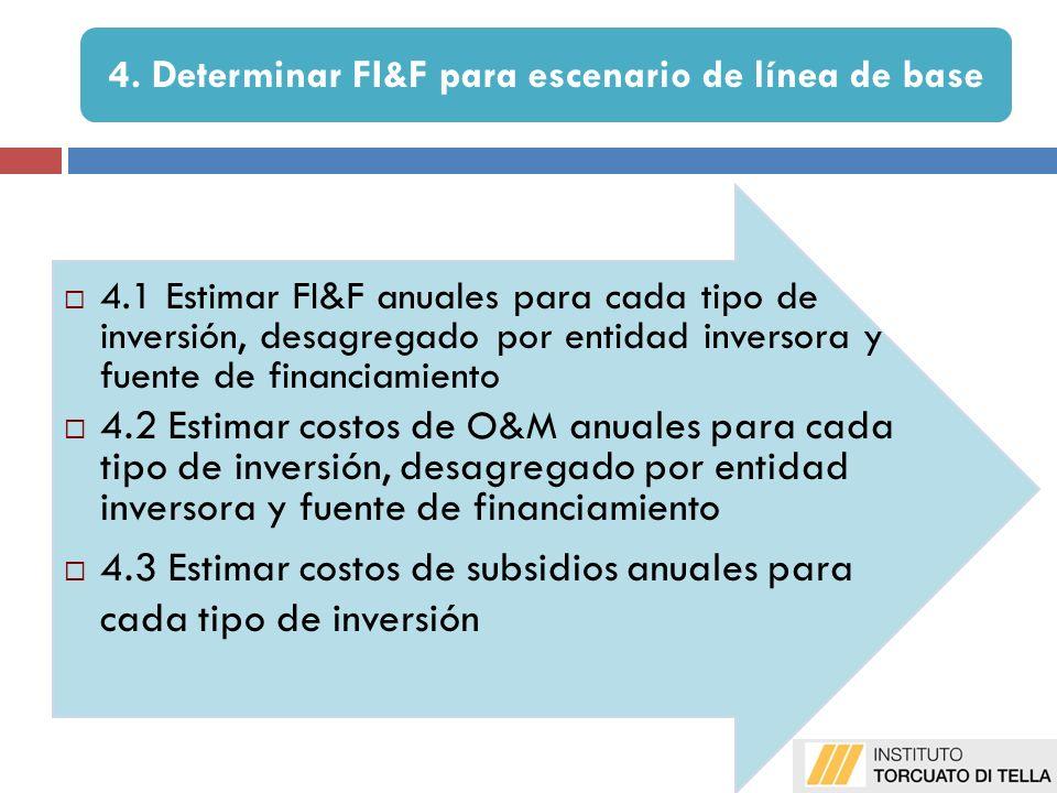 4.1 Estimar FI&F anuales para cada tipo de inversión, desagregado por entidad inversora y fuente de financiamiento 4.2 Estimar costos de O&M anuales para cada tipo de inversión, desagregado por entidad inversora y fuente de financiamiento 4.3 Estimar costos de subsidios anuales para cada tipo de inversión 4.