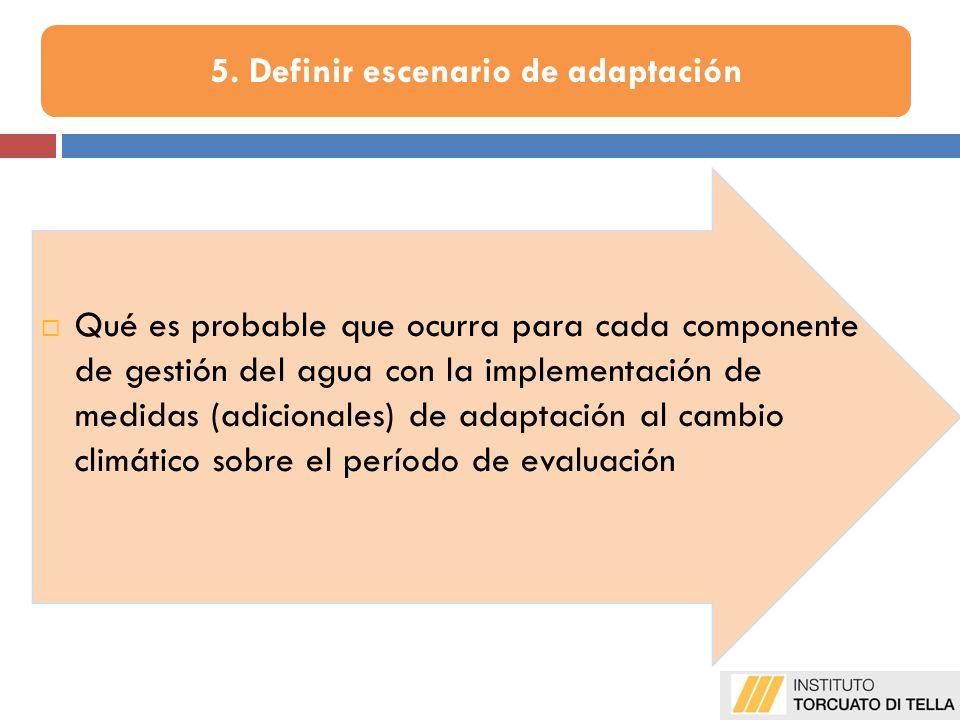 Qué es probable que ocurra para cada componente de gestión del agua con la implementación de medidas (adicionales) de adaptación al cambio climático sobre el período de evaluación 5.