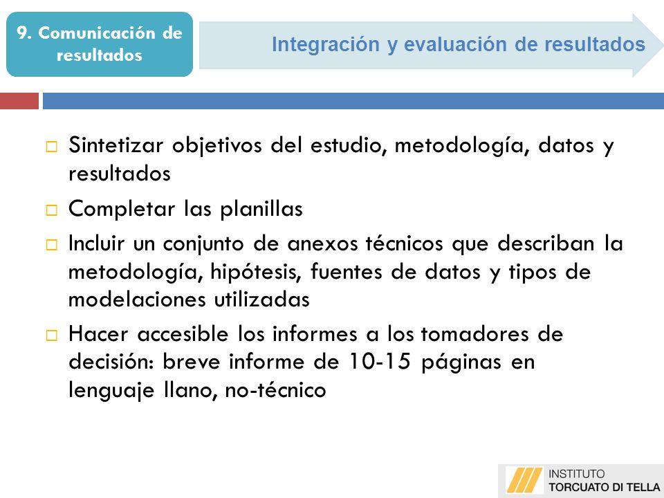 Integración y evaluación de resultados 9.