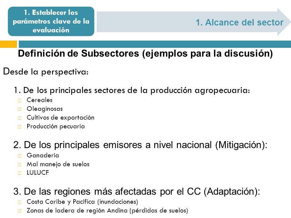 1. Alcance del sector 1. Establecer los parámetros clave de la evaluación Definición de Subsectores (ejemplos para la discusión) D esde la perspectiva