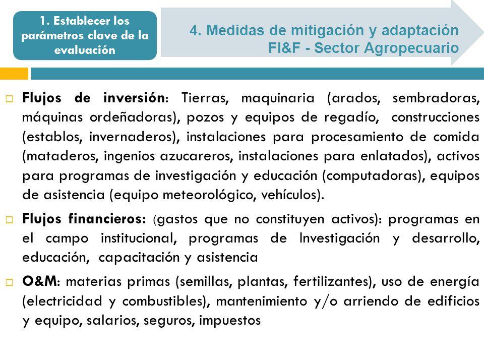 4. Medidas de mitigación y adaptación FI&F - Sector Agropecuario 1. Establecer los parámetros clave de la evaluación Flujos de inversión: Tierras, maq