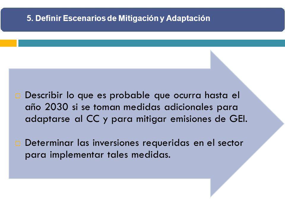 Describir lo que es probable que ocurra hasta el año 2030 si se toman medidas adicionales para adaptarse al CC y para mitigar emisiones de GEI.