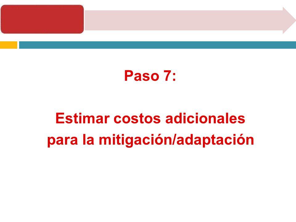 Paso 7: Estimar costos adicionales para la mitigación/adaptación