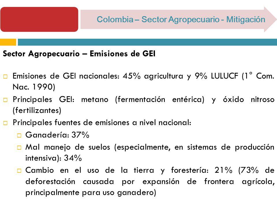 Colombia – Sector Agropecuario - Mitigación Sector Agropecuario – Emisiones de GEI Emisiones de GEI nacionales: 45% agricultura y 9% LULUCF (1° Com.