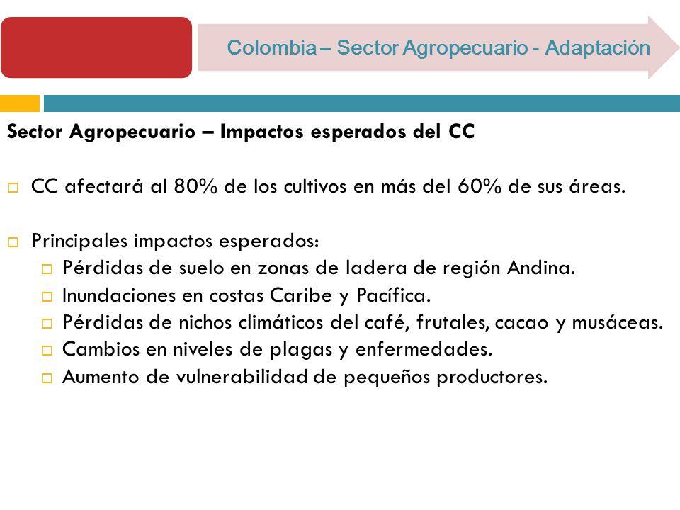 Colombia – Sector Agropecuario - Adaptación Sector Agropecuario – Impactos esperados del CC CC afectará al 80% de los cultivos en más del 60% de sus áreas.