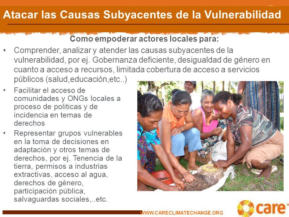 La vulnerabilidad diferenciada: El rol de factores sociales La vulnerabilidad al cambio climático es función de exposición, sensibilidad y capacidades