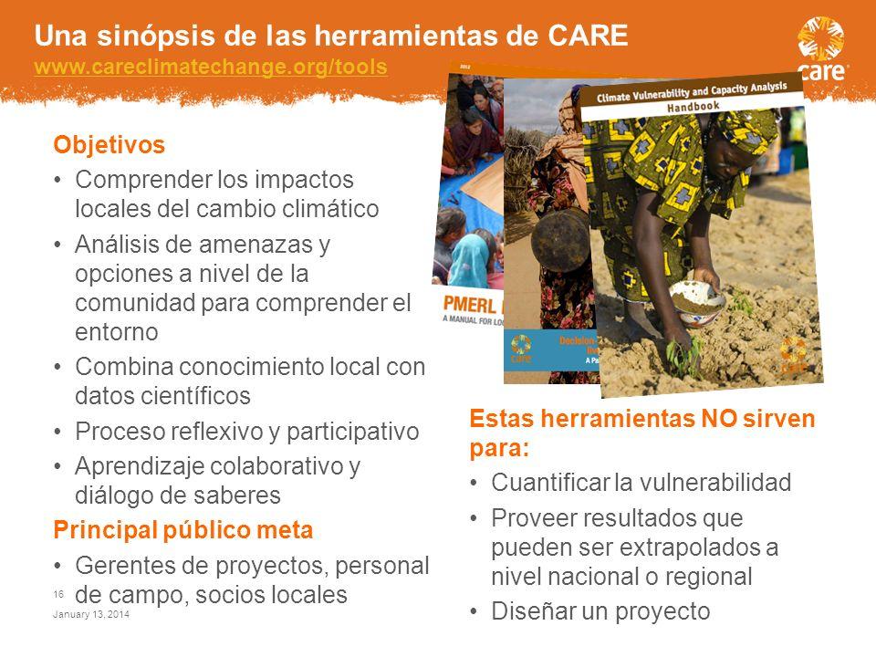 Adaptación basada en la Comunidad Una sinópsis de herramientas de CARE January 13, 2014 15