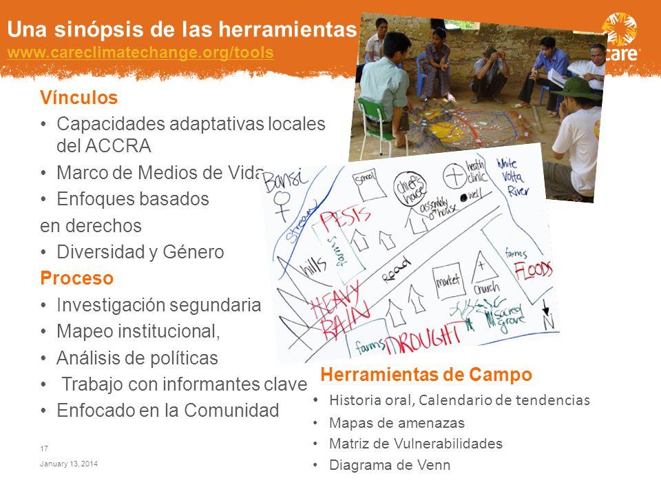 Una sinópsis de las herramientas de CARE www.careclimatechange.org/tools www.careclimatechange.org/tools Objetivos Comprender los impactos locales del