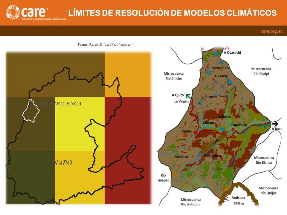 APLICACIÓN DE LOS MODELOS A ESCALA LOCAL Fuente: Rosero, P. Modelos climáticos