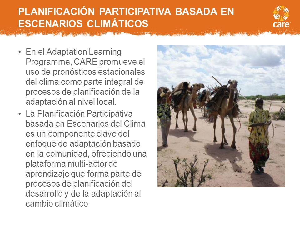 Desde 2010, CARE internacional ha estado desarrollando e implementando enfoques partipativos para la adaptacion basada en la comunidad por medio del P