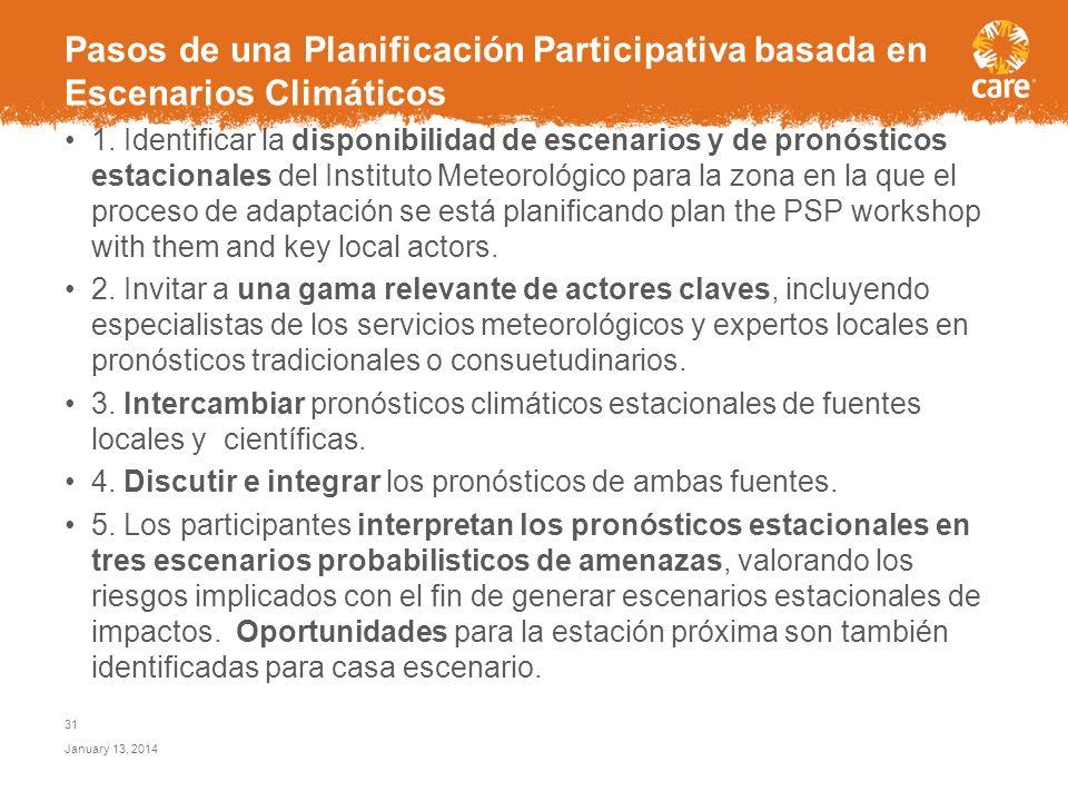 Procesos de planificación participativa facilitan el uso de pronósticos estacionales del clima, que permiten a distintos actores tomar decisiones opor